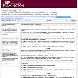 Step 4: Evaluating Sources - Getting Started Doing Research - LibGuides at University of Maine Farmington
