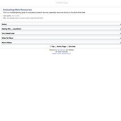 Evaluating Web Resources -