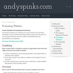 Evaluating Websites - AndySpinks.com