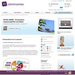 Evaluation AFAQ 26000 : AFNOR Certification