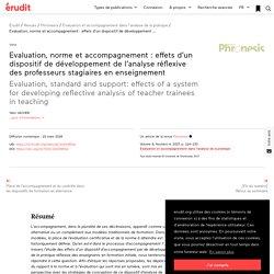 Evaluation, normeet accompagnement : effets d'un… – Phronesis