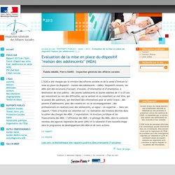 "Evaluation de la mise en place du dispositif ""maison des adolescents"" (MDA)"