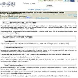 ISTM Kinshasa - 2009 - Mémoire en ligne : Evaluation in vitro des pouvoirs antifongique des extraits de feuille de papayer sur d