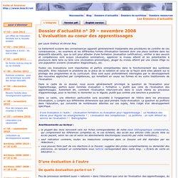 Dossier d'actualité – L'évaluation au coeur des apprentissages – novembre 2008