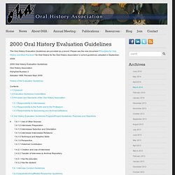 2000 Oral History Evaluation Guidelines
