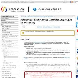 Évaluation certificative - Certificat d'Études de Base (CEB)
