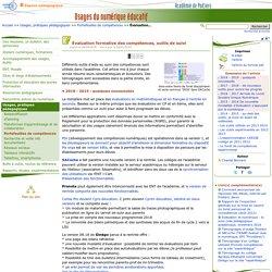 Évaluation formative des compétences, outils de suivi- Usages du numérique éducatif