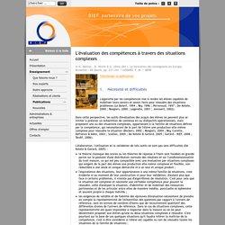 L'évaluation des compétences à travers des situations complexes - BIEF -
