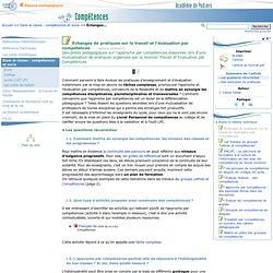 Échanges de pratiques sur le travail et l'évaluation par compétences - Page 1/2 - Compétences