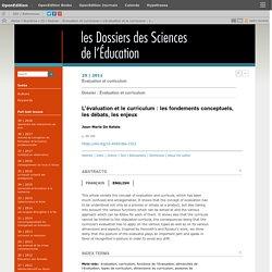 L'évaluation et le curriculum: les fondements conceptuels, les débats, les enjeux