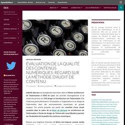 Contenus numériques : évaluation de la qualité regard sur la méthode d'audit de contenu _DLIS
