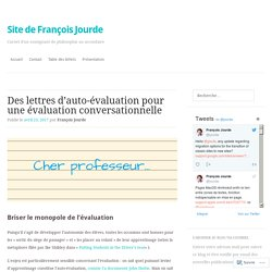 Des lettres d'auto-évaluation pour une évaluation conversationnelle – Site de François Jourde