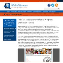 NYSED School Library Media Program Evaluation Rubric