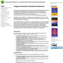 Program Evaluation Standards Statements « Joint Committee on Standards for Educational Evaluation