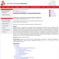 Analysis and Evaluation of Training Effectiveness