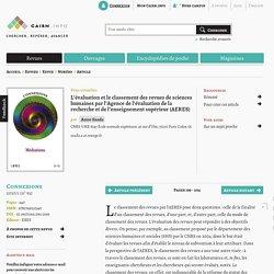 L'évaluation et le classement des revues de sciences humaines par l'Agence de l'évaluation de la recherche et de l'enseignement supérieur (AERES)