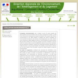 EVALUATION ENVIRONNEMENTALE - DREAL Aquitaine