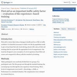 First aid as an important traffic safety factor - evaluation of the experience-based training