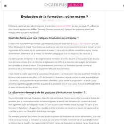 Evaluation de la formation : où en est-on ?