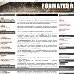 Evaluation de formation - FORMATEUR