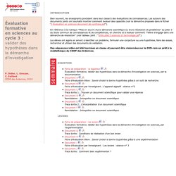 Évaluation formative en sciences au cycle 3