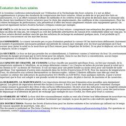 Evaluation des fours solaires