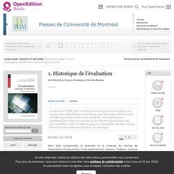 L'évaluation : concepts et méthodes - 1. Historique de l'évaluation - Presses de l'Université de Montréal