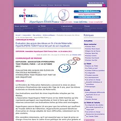 Evaluation des acquis des élèves en fin d'école Maternelle : HyperSUPERS TDAH France fait part de son inquiètude
