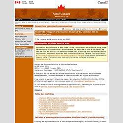 SANTE CANADA 22/07/11 Rapport d'évaluation ERC2011-03, Confidor 200 SL (imidaclopride)
