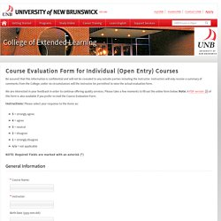 Course Evaluation Form for Individual (Open Entry) Courses