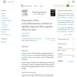 Evaluation of the anti-inflammatory activities of Quillaja saponaria Mol. saponin extract in mice