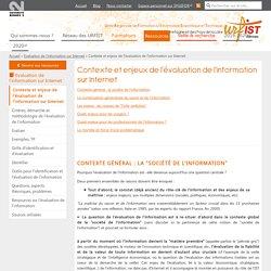 Contexte et enjeux de l'évaluation de l'information sur Internet