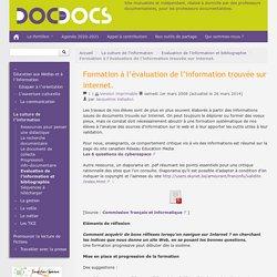 Formation à l'évaluation de l'information trouvée sur internet. - Doc pour docs