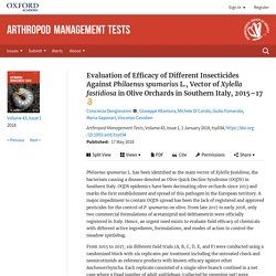 ARTHROPOD MANAGEMENT TESTS 17/05/18 Evaluation of Efficacy of Different Insecticides Against Philaenus spumarius L., Vector of Xylella fastidiosa in Olive Orchards in Southern Italy, 2015–17