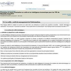 Processus et essai d'evaluation en veille et en intelligence economique pour les TPE de Marseille Innovation - Hassen Karim HAMDI
