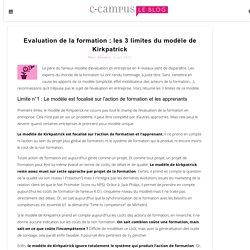 Evaluation de la formation - limites modèle de Kirkpatrick