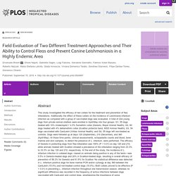 PLOS 15/09/16 Field Evaluation of Two Different Treatment Approaches and Their Ability to Control Fleas and Prevent Canine Leishmaniosis in a Highly Endemic Area