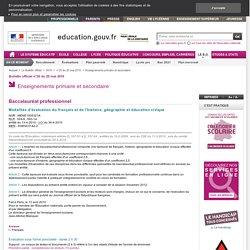 Modalités d'évaluation du français et de l'histoire, géographie et éducation civique - MENE1005321A