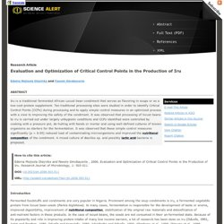 Evaluation and Optimization of Critical Control Points in the Production of Iru
