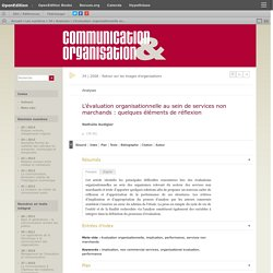 L'évaluation organisationnelle au sein de services non marchands: quelques éléments de réflexion
