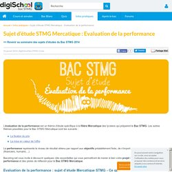 Evaluation de la Performance - Sujet d'étude Bac STMG Mercatique 2014