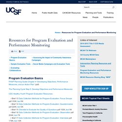 Resources for Program Evaluation and Performance Monitoring