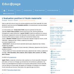 L'évaluation positive à l'école maternelle – Educ@page