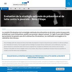Evaluation de la stratégie nationale de prévention et de lutte contre la pauvreté - Note d'étape