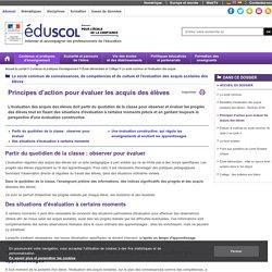 Le socle commun et l'évaluation des acquis - Principes d'action pour évaluer les acquis des élèves