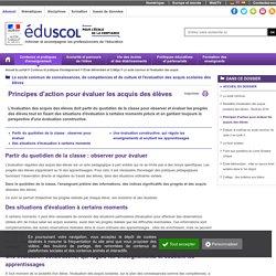 Principes d'action pour évaluer les acquis des élèves