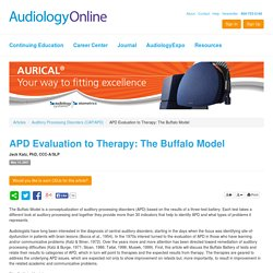 APD Evaluation to Therapy: The Buffalo Model Jack Katz Auditory Processing Disorders (CAP/APD) 945