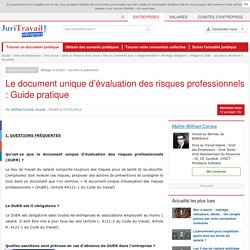 Le document unique d'évaluation des risques professionnels : Guide pratique