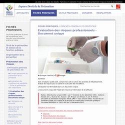 Evaluation des risques professionnels - Document unique