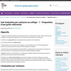 Une évaluation par ceintures au collège - 1 - Proposition d'une (...)